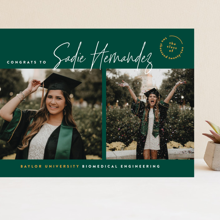 """""""The School Colors"""" - Grand Graduation Cards in Emerald by Owl and Toad."""
