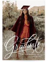 This is a white oversized graduation card by Erin German called Script Grad with standard printing on signature in grand.