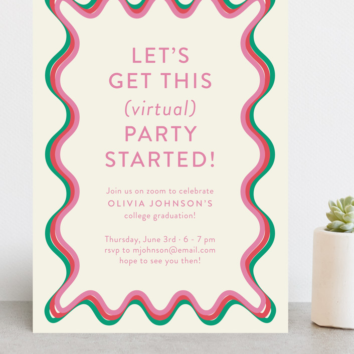 """""""Ticker Tape"""" - Modern Grand Graduation Cards in Strawberry by Toast & Laurel."""