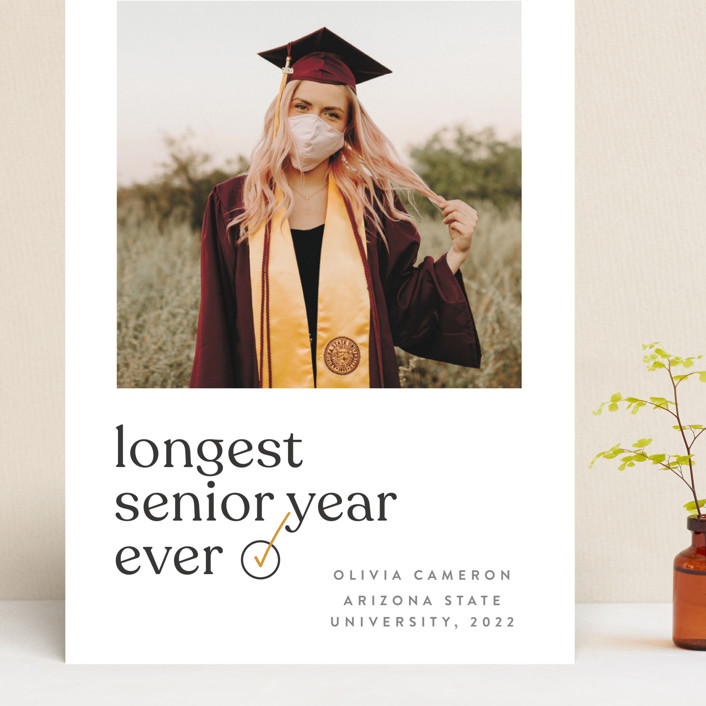 """longest ever"" - Funny, Modern Grand Graduation Cards in Mustard by JoAnn Jinks."
