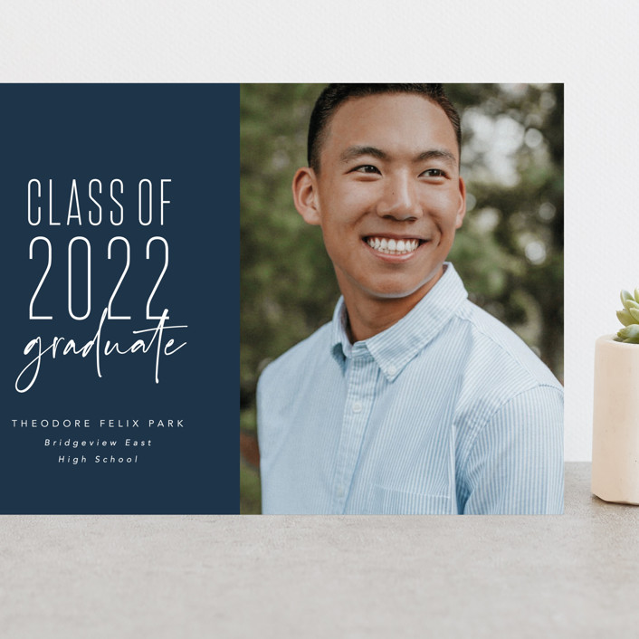 """""""One and done"""" - Funny, Preppy Grand Graduation Cards in Jeans by Lea Delaveris."""