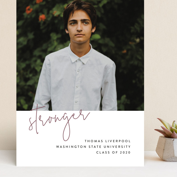 """""""Stronger"""" - Grand Graduation Cards in Rosewood by Chryssi Tsoupanarias."""