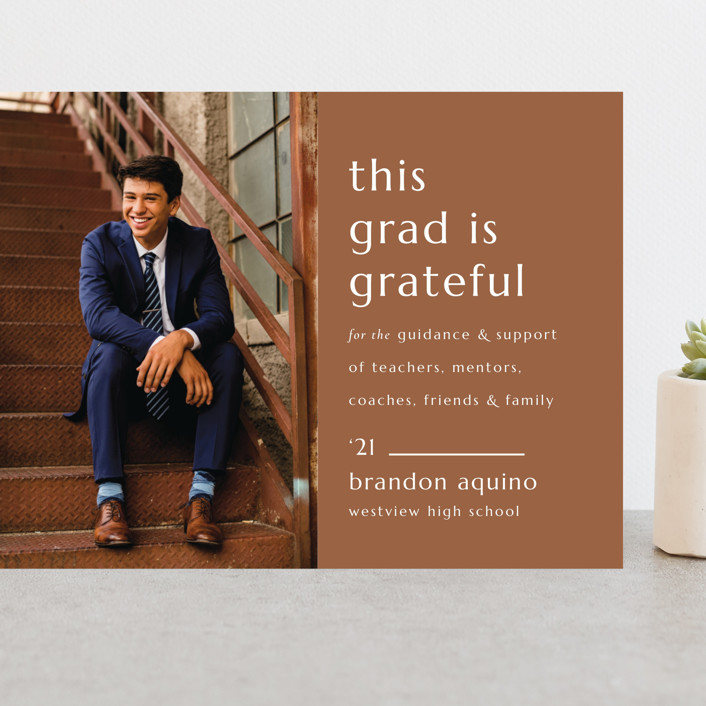"""""""Grateful Grad"""" - Modern, Preppy Grand Graduation Cards in Caramel by Griffinbell Paper Co.."""