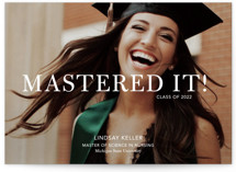 This is a white graduation announcement invitation by Stacie Stankos called Mastered It with standard printing on smooth signature in grand.