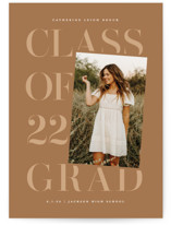 This is a brown oversized graduation card by Lauren Chism called Tilt with standard printing on signature in grand.