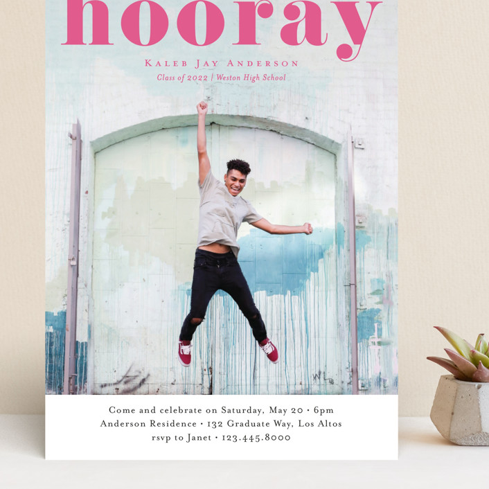 """Hooray"" - Grand Graduation Cards in Cloud by Kasia Labocki."