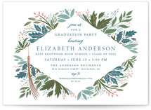 This is a blue graduation announcement invitation by Paper Sun Studio called Flourish with foil-pressed printing on pearlescent in grand.