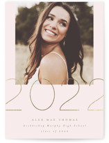 This is a pink graduation announcement invitation by AK Graphics called Shine with foil-pressed printing on smooth signature in grand.