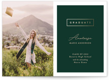 This is a green graduation announcement invitation by Pine Street Creative called Classic Graduate with foil-pressed printing on smooth signature in grand.