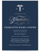 This is a black graduation announcement invitation by Jill Means called Medical Degree with foil-pressed printing on signature in grand.