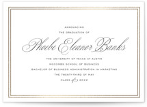 This is a black and white graduation announcement invitation by Toast & Laurel called Scholarly Charm with foil-pressed printing on signature in grand.