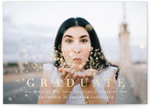 This is a blue graduation announcement invitation by Leah Bisch called Bright Future with foil-pressed printing on smooth signature in grand.