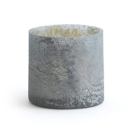 This is a grey votive holder by Minted called Rustic Glass.