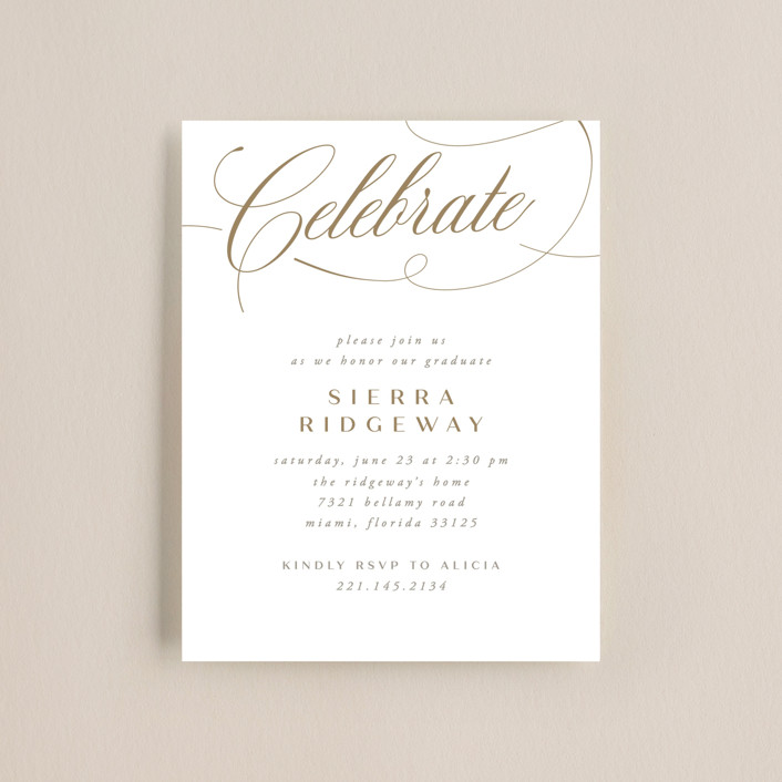 """""""Scripted"""" - Graduation Insert Cards in Copper by Jen Banks of Ink and Letter."""