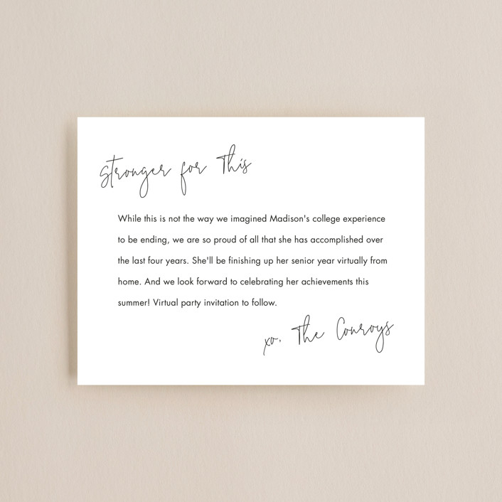 """Stronger for This"" - Graduation Insert Cards in Noir by Minted."