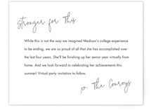 This is a black graduation insert card by Minted called Stronger for This with standard printing on signature in standard.
