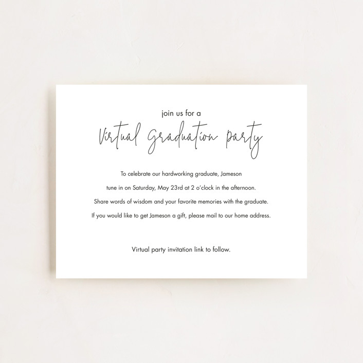 """Virtual Grad Party"" - Graduation Insert Cards in Noir by Minted."
