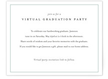 This is a green new by Minted called Virtual Graduation Party with standard printing on signature in standard.