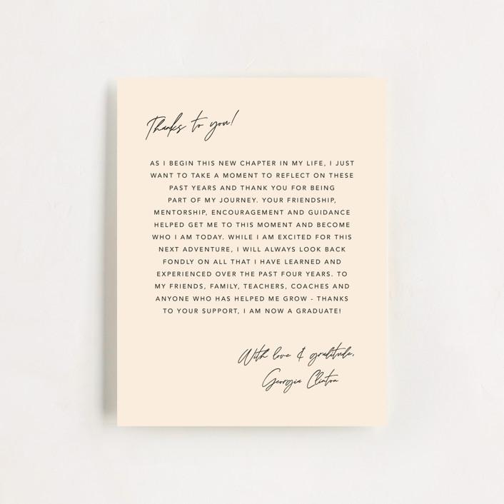 """""""Onward & Upward"""" - Funny, Preppy Graduation Insert Cards in Peach by Anna Elder."""