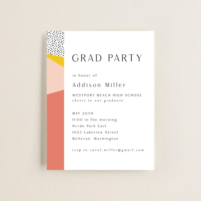 """Bold Border"" - Modern, Preppy Graduation Insert Cards in Pink Lemonade by Nicole Walsh."