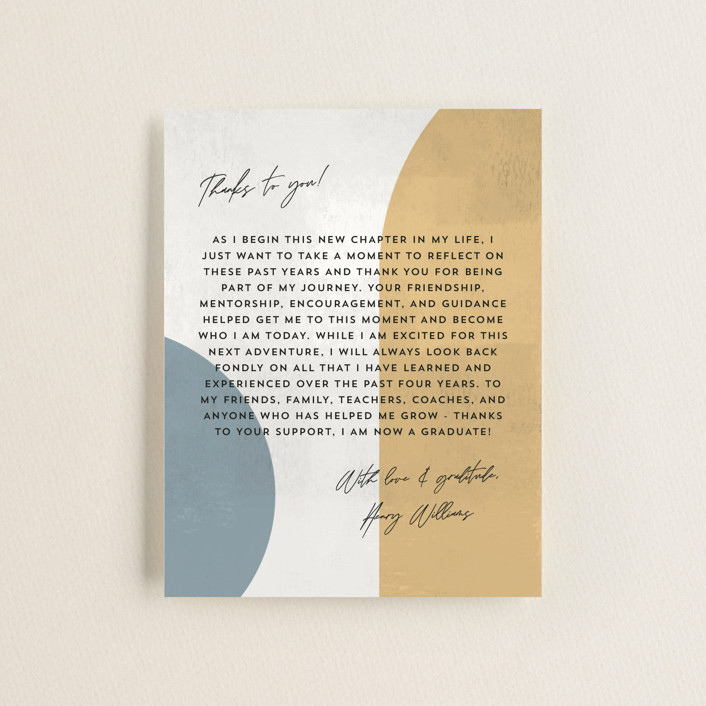 """Abstract Stone"" - Modern, Preppy Graduation Insert Cards in Mustard by Anna Elder."