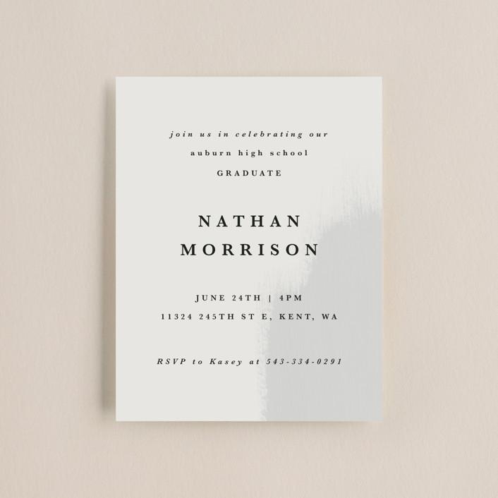 """""""New Beginning"""" - Modern, Preppy Graduation Insert Cards in Mist by Angela Garrick."""