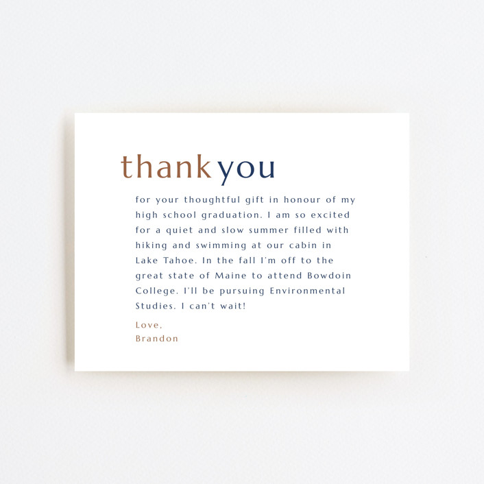 """Grateful Grad"" - Modern, Preppy Graduation Insert Cards in Caramel by Griffinbell Paper Co.."