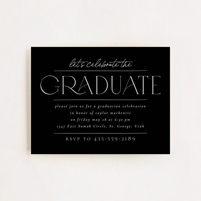 """Mod Grad"" - Modern Graduation Insert Cards in Mint by Wildfield Paper Co."