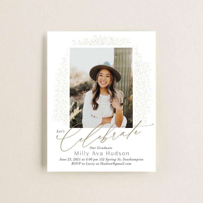 """Simply Sparkling"" - Modern Graduation Insert Cards in Snow by Nicoletta Savod."