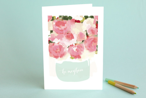 Peonies in a Vase Just Because Greeting Cards