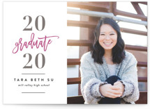 This is a pink letterpress graduation announcement by Angela Marzuki called Grad's Big Year with letterpress printing on bright white letterpress paper in standard.