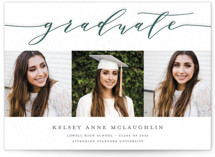 This is a green letterpress graduation announcement by Paper Dahlia called Graduate Script with letterpress printing on bright white letterpress paper in standard.