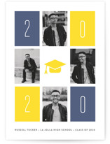 This is a blue letterpress graduation announcement by Erica Krystek called Retro Rectangles with letterpress printing on bright white letterpress paper in standard.