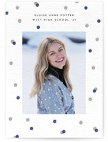 This is a blue letterpress graduation announcement by Jessica Corliss called Confetti Pride with letterpress printing on bright white letterpress paper in standard.