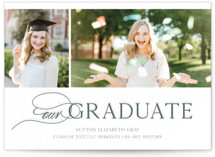 This is a green letterpress graduation announcement by Alexandra Cohn called Our Graduate Photo Card with letterpress printing on bright white letterpress paper in standard.
