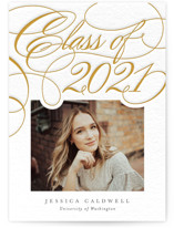 This is a white letterpress graduation announcement by Amy Payne called The Classics with letterpress printing on bright white letterpress paper in standard.