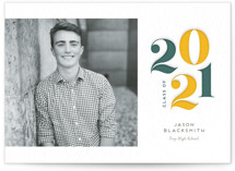 This is a yellow letterpress graduation announcement by Genna Blackburn called Ultimate with letterpress printing on bright white letterpress paper in standard.