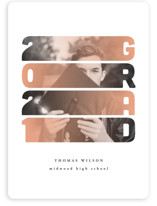 This is a orange graduation announcement invitation by Anastasia Makarova called Gradient with standard printing on signature in petite.