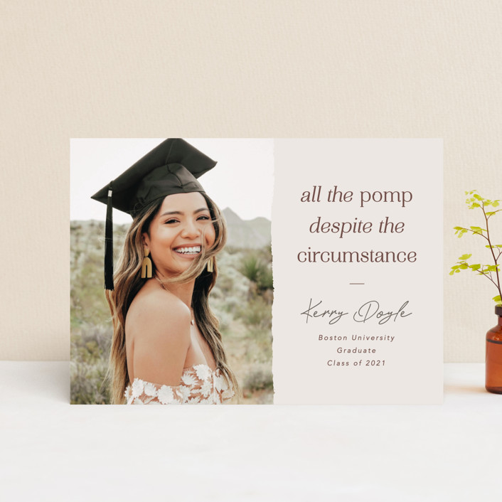 """""""All the Pomp Despite the Circumstance"""" - Funny, Preppy Graduation Petite Cards in Sandstone by Kelsey Mucci."""