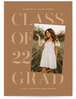 This is a brown mini graduation invitation by Lauren Chism called Tilt with standard printing on signature in petite.