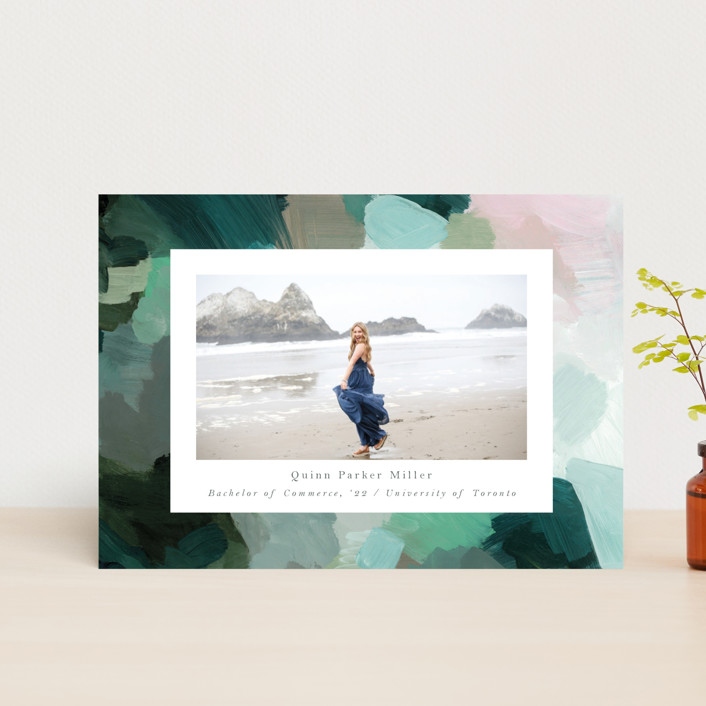 """abstraction"" - Modern Graduation Petite Cards in Ocean by Nicole Walsh."