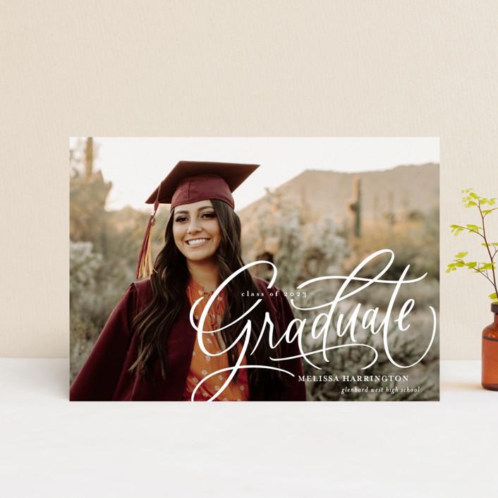 """Script Grad"" - Graduation Petite Cards in Cloud by Erin German."