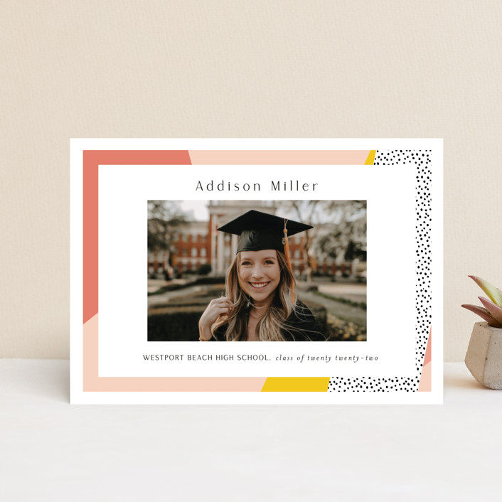 """Bold Border"" - Modern, Preppy Graduation Petite Cards in Pink Lemonade by Nicole Walsh."