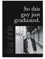 This is a black mini graduation invitation by Bonjour Berry called This Guy with standard printing on smooth signature in petite.