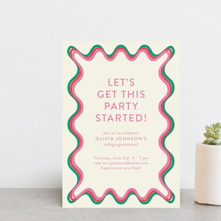 """Ticker Tape"" - Modern Graduation Petite Cards in Strawberry by Toast & Laurel."