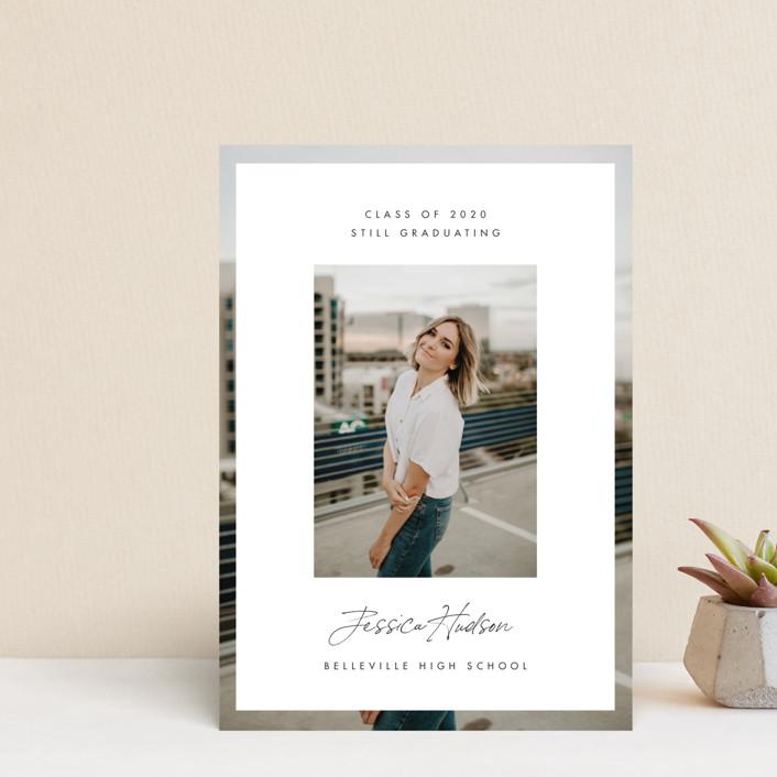 """Double Photo"" - Modern Graduation Petite Cards in Salt by Monika Drachal."