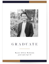 This is a blue mini graduation invitation by Pixel and Hank called Stacked with standard printing on smooth signature in petite.