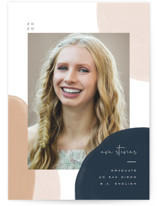 This is a brown mini graduation invitation by Leah Bisch called Painterly Frame with standard printing on smooth signature in petite.