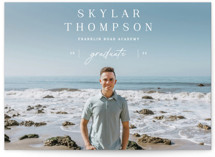 This is a white graduation announcement invitation by Sara Hicks Malone called peak with standard printing on signature in petite.