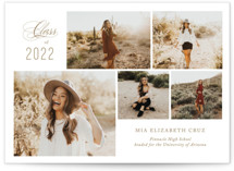 This is a brown graduation announcement invitation by Jennifer Postorino called Front & Center with standard printing on signature in petite.
